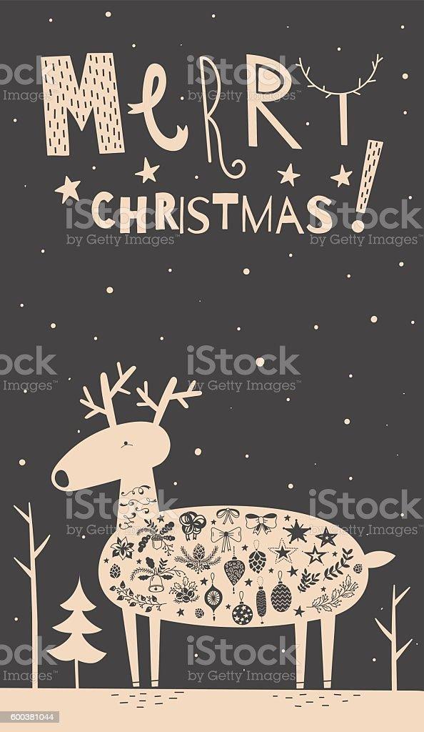 Merry Christmas deer card vector art illustration