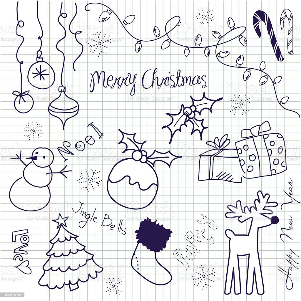 Merry Christmas designs on squared paper royalty-free stock vector art
