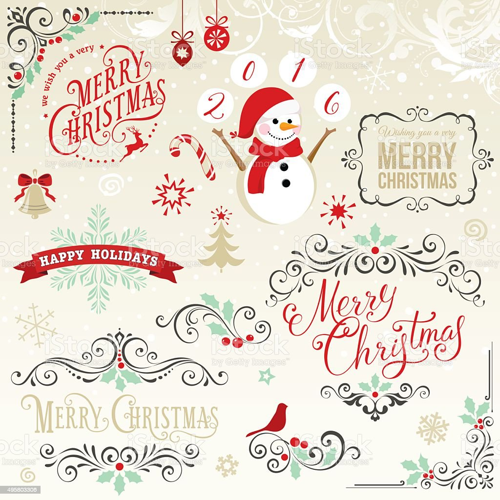 Merry Christmas Elements Set vector art illustration
