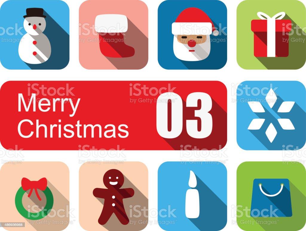 Merry Christmas flat icon set vector art illustration
