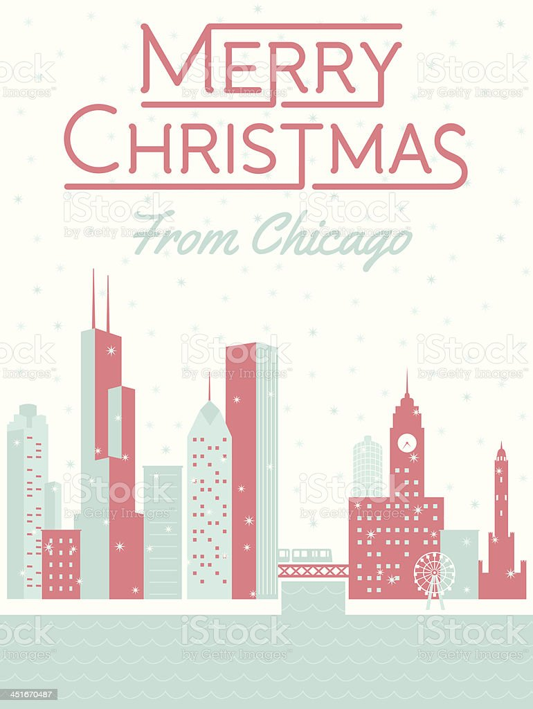 Merry Christmas from Chicago vector art illustration
