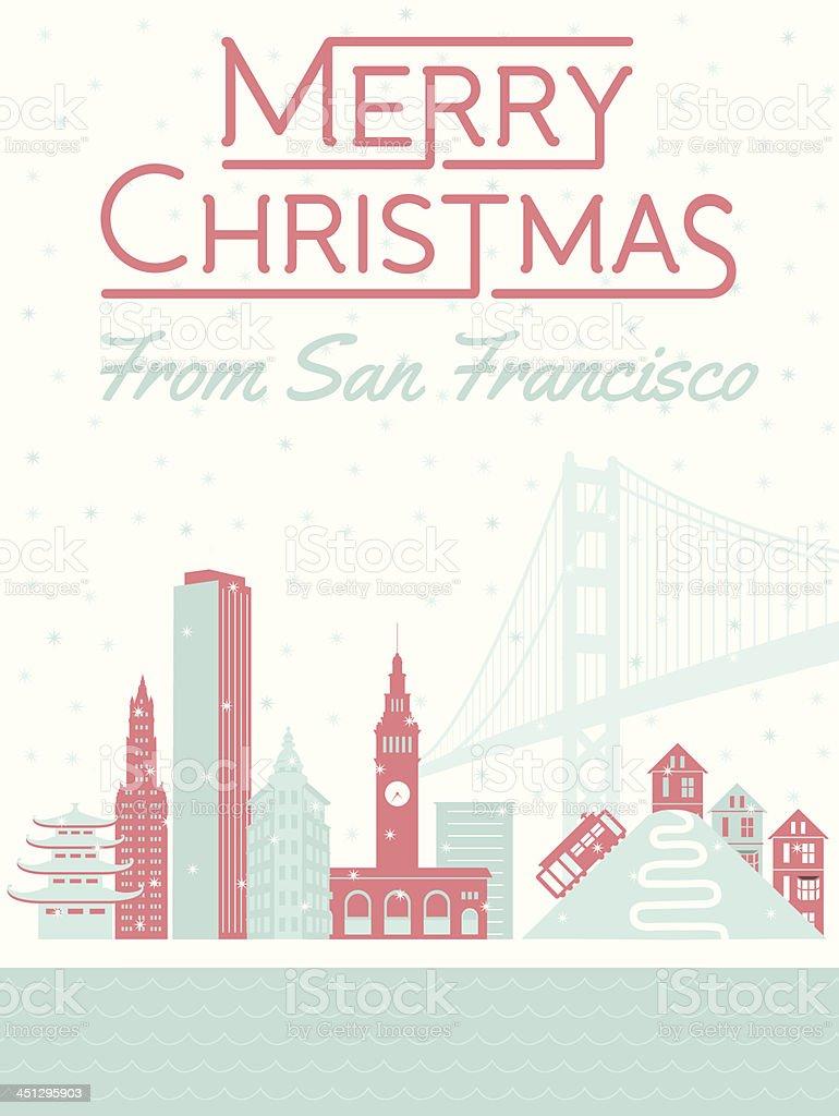 Merry Christmas from San Francisco vector art illustration