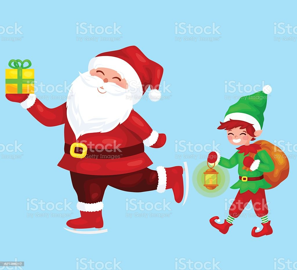 Merry Christmas. Funny Santa Claus with gift on skates. vector art illustration