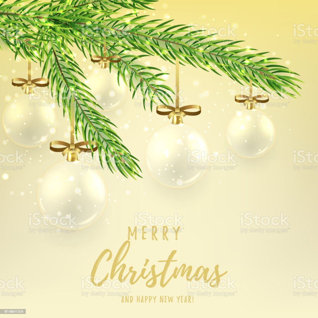 Merry Christmas gift card with glass balls royalty-free stock vector art