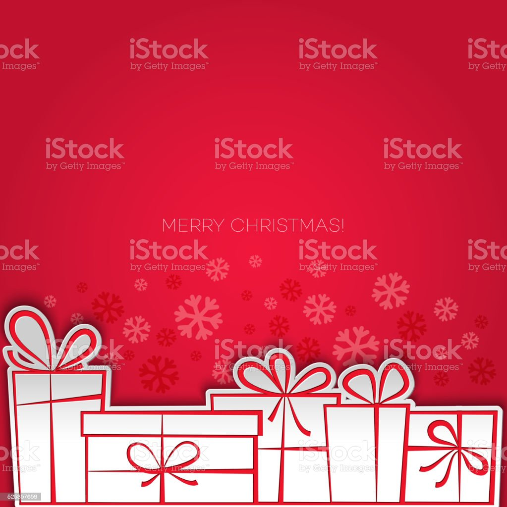 Merry Christmas gift greeting card. Paper design vector art illustration