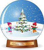 Merry christmas glass ball with girl and boy, tee