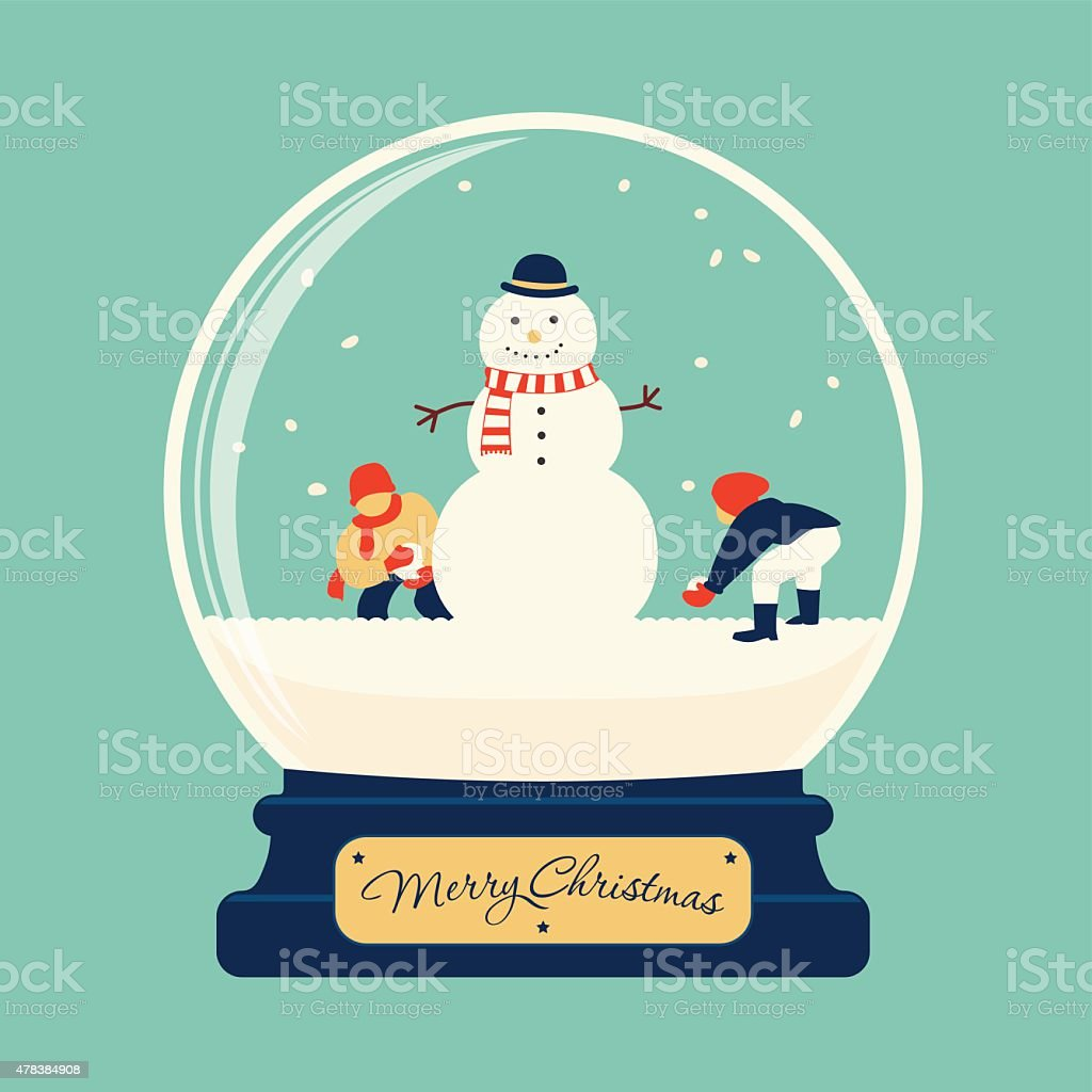 Merry christmas glass ball with snowman vector art illustration