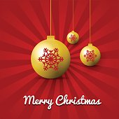 Merry Christmas golden balls red on rays background
