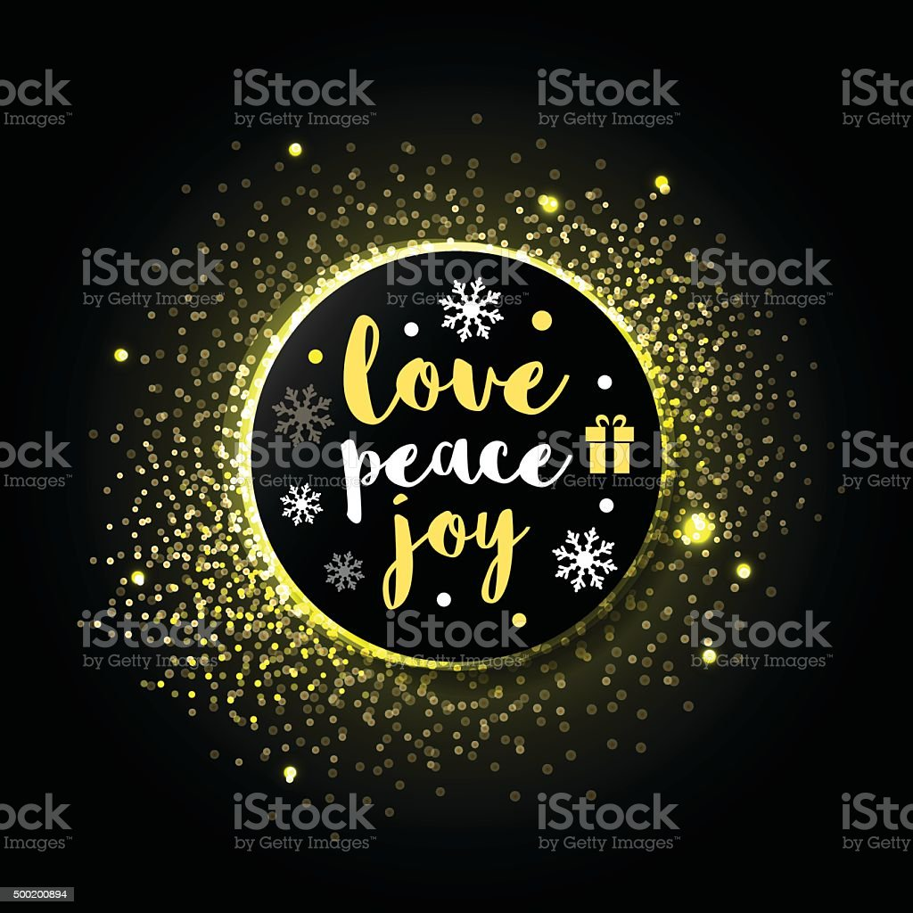 Merry Christmas Greeting card  'Love, Peace, Joy' with golden sparkles vector art illustration