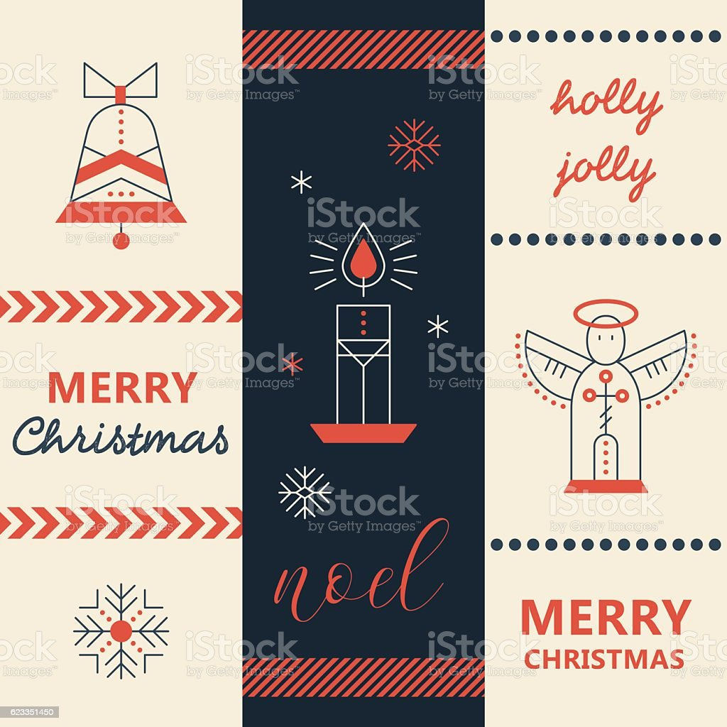Merry Christmas greeting card template vector art illustration