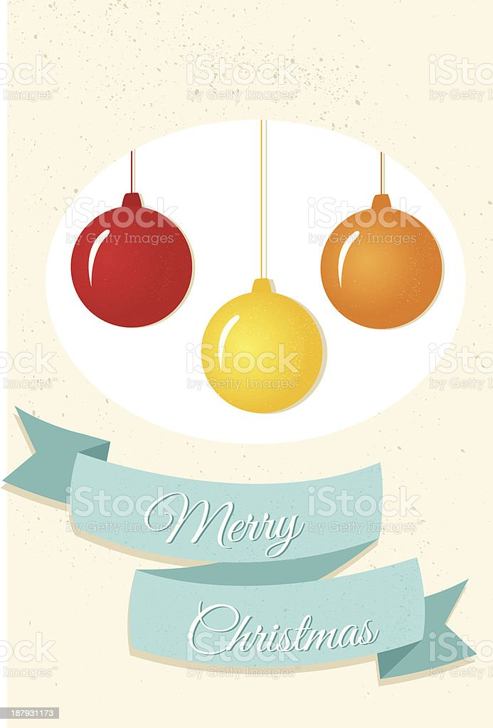 Merry Christmas greeting card with 3 colorful tree ornaments royalty-free stock vector art