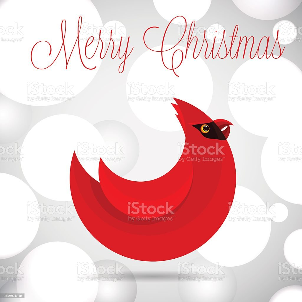 Merry Christmas greetings card design with northern cardinal bird vector art illustration