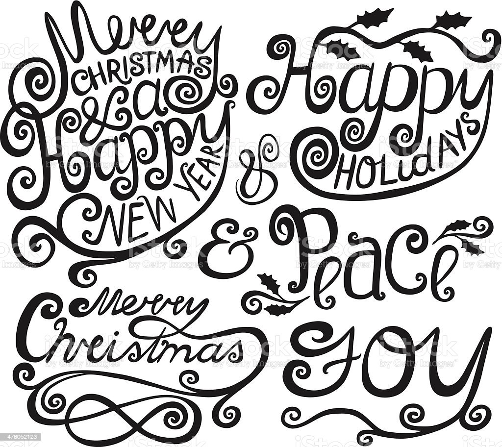 Merry Christmas Greetings Text Elements royalty-free stock vector art