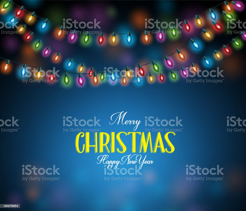 Merry Christmas Greetings with Realistic 3D Colorful Christmas Lights vector art illustration
