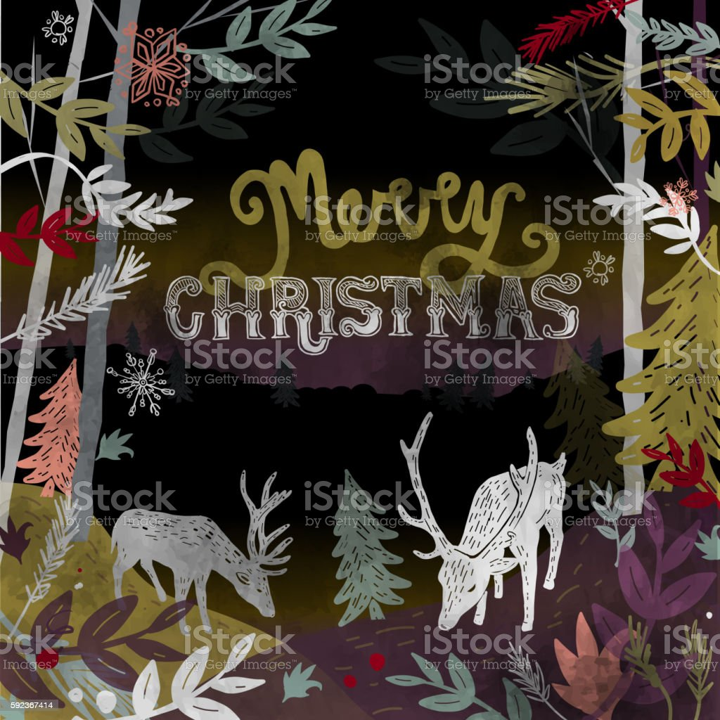 Merry Christmas hand lettered Christmas or Holiday greeting design vector art illustration