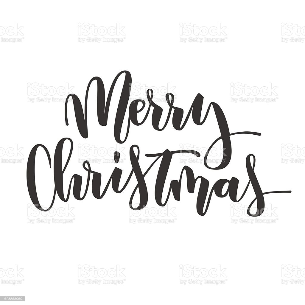 Merry Christmas Hand Written Inscription stock vector art ...