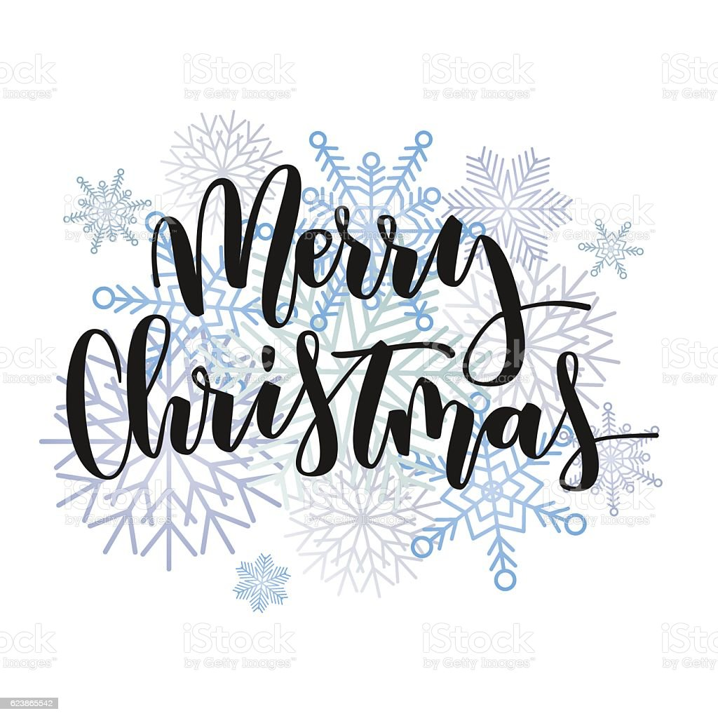 Merry Christmas hand written inscription vector art illustration