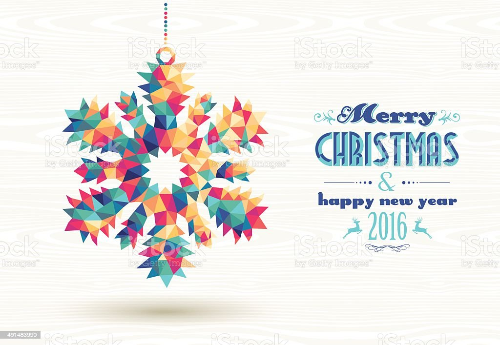 Merry christmas happy new year 2016 triangle snow vector art illustration