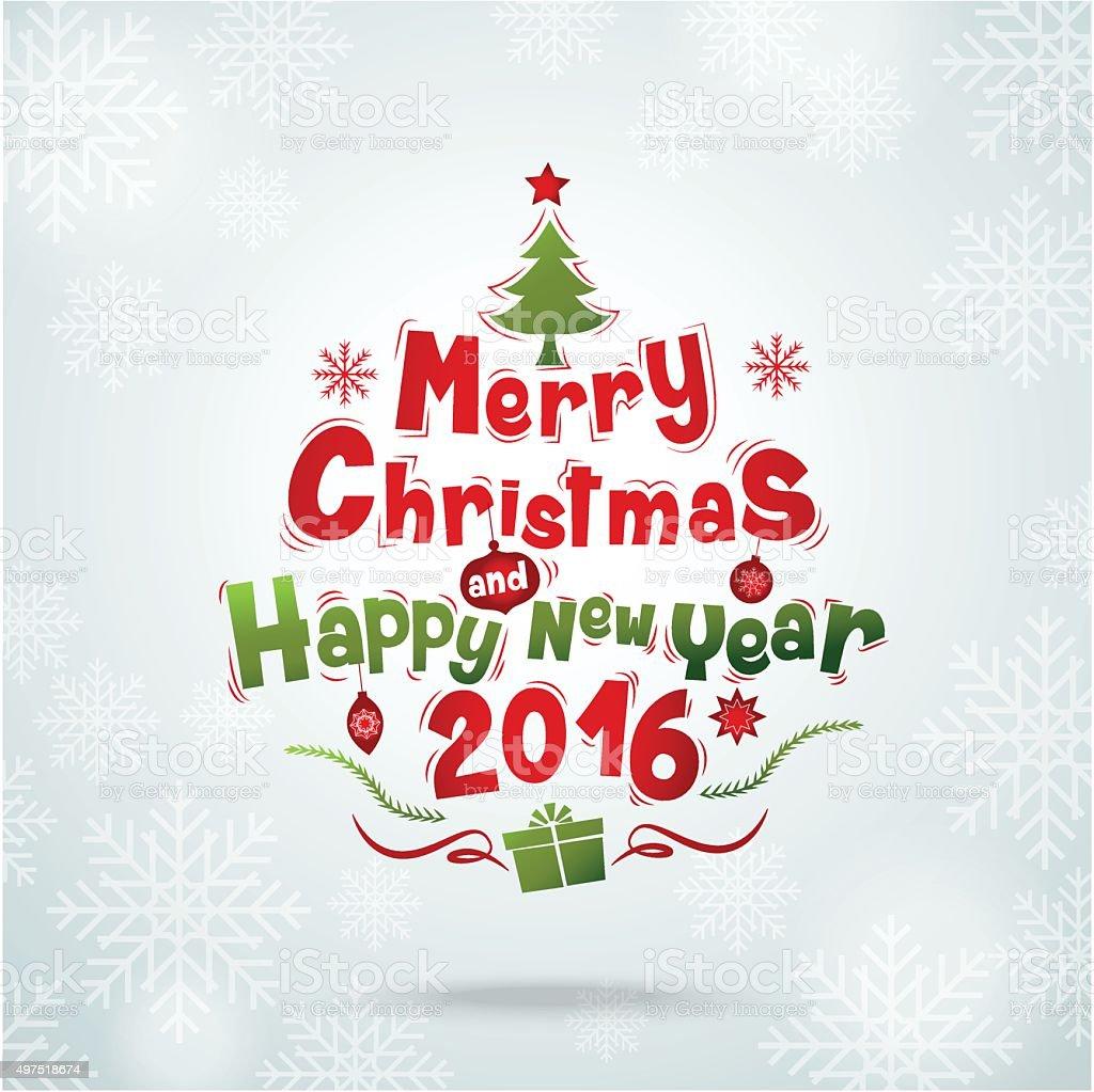 merry christmas& happy new year 2016 vector art illustration