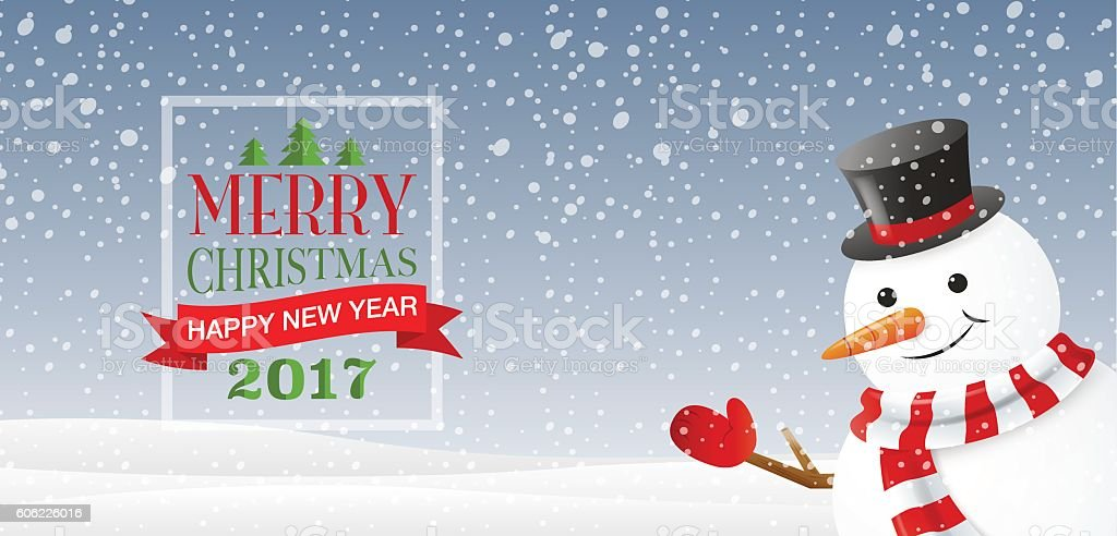 merry christmas& happy new year 2017, Type, snowflakes background & texture vector art illustration