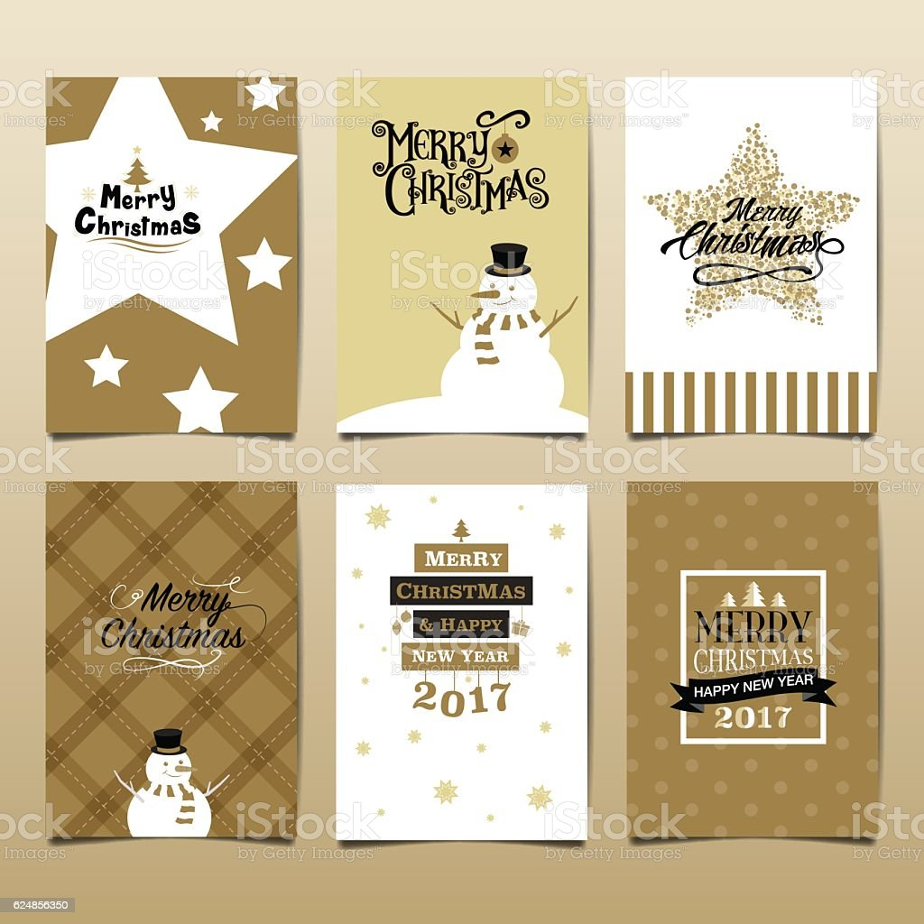merry christmas& happy new year 2017 vector art illustration