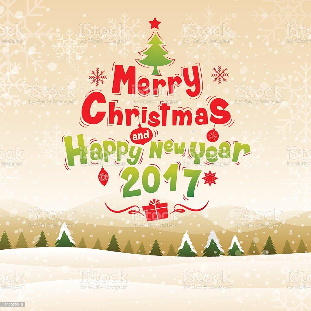 merry christmas& happy new year 2017. vector art illustration