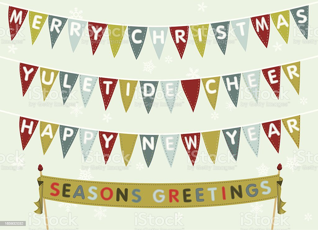 Merry Christmas & Happy New Year Bunting vector art illustration