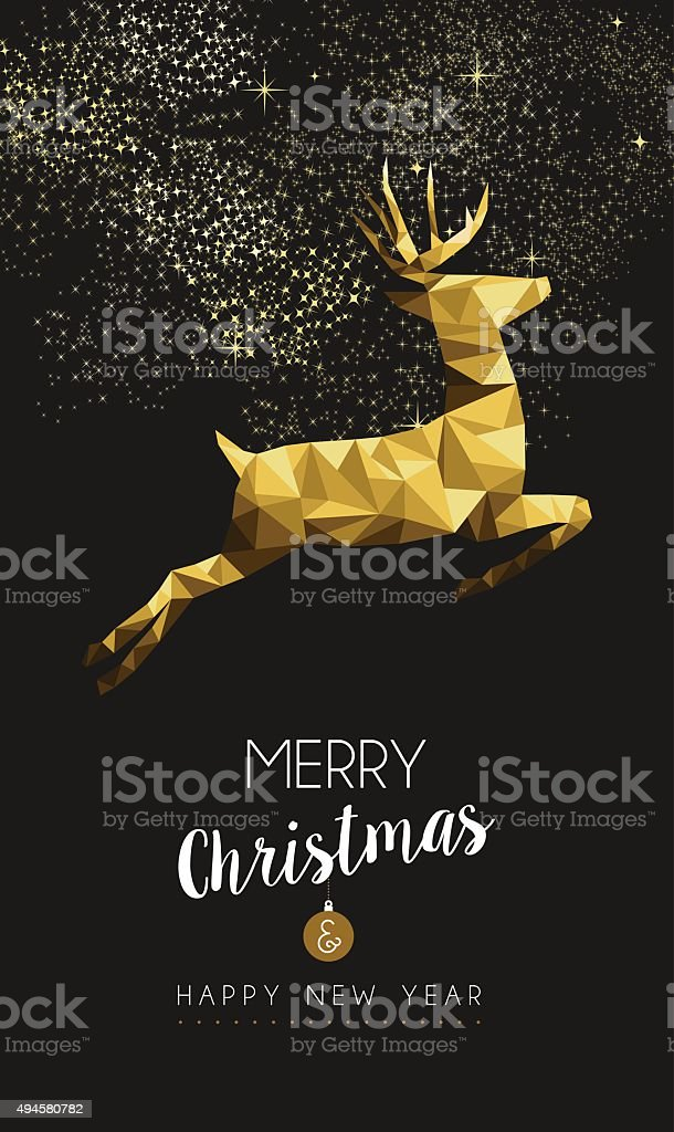 Merry christmas happy new year gold deer low poly vector art illustration