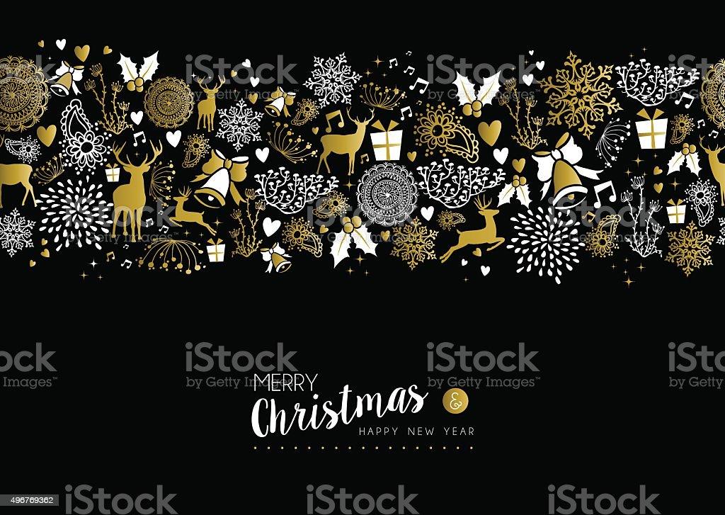 Merry christmas happy new year gold pattern retro vector art illustration