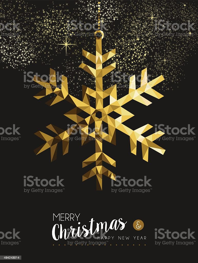 Merry christmas happy new year gold snow origami vector art illustration