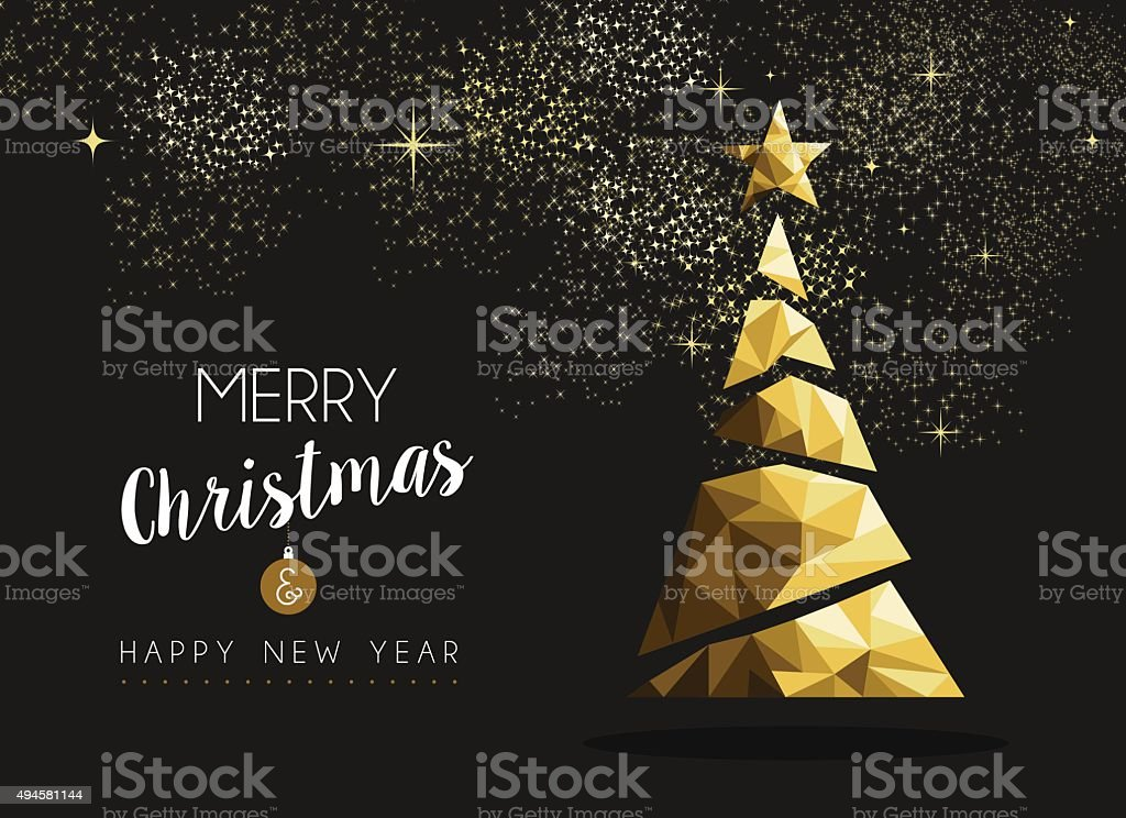 Merry christmas happy new year golden triangle tree vector art illustration
