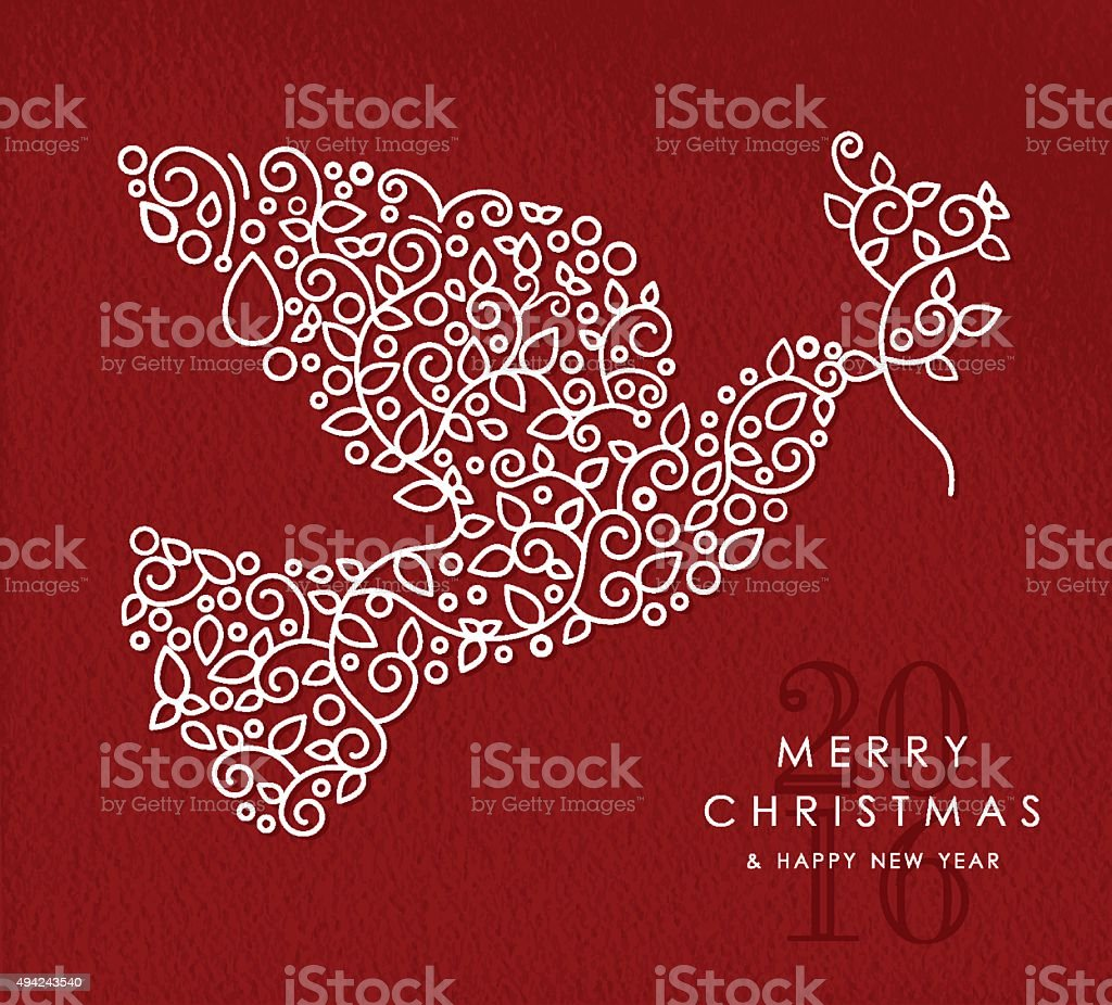 Merry christmas happy new year outline dove deco vector art illustration