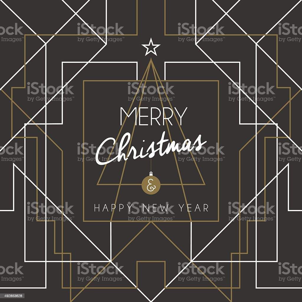 Merry christmas happy new year tree art deco line vector art illustration