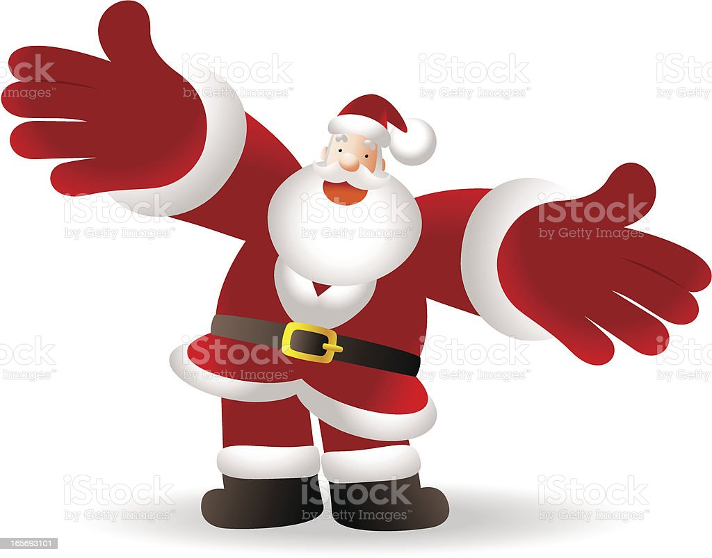 Merry Christmas, Happy Santa Claus Giving a Hug vector art illustration
