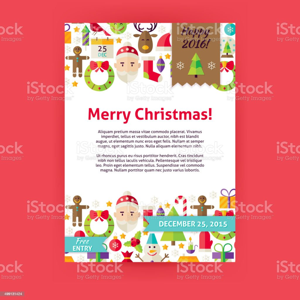 merry christmas holiday vector invitation template flyer stock merry christmas holiday vector invitation template flyer royalty stock vector art