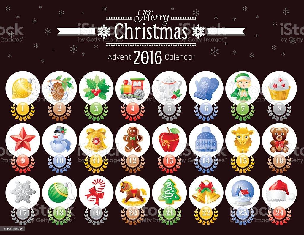 Merry Christmas icon set, vector advent calendar 2016 illustration vector art illustration