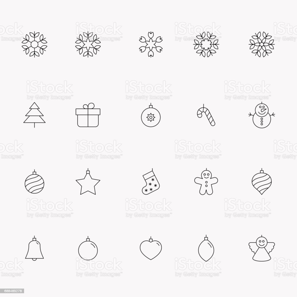 Merry Christmas icons vector art illustration