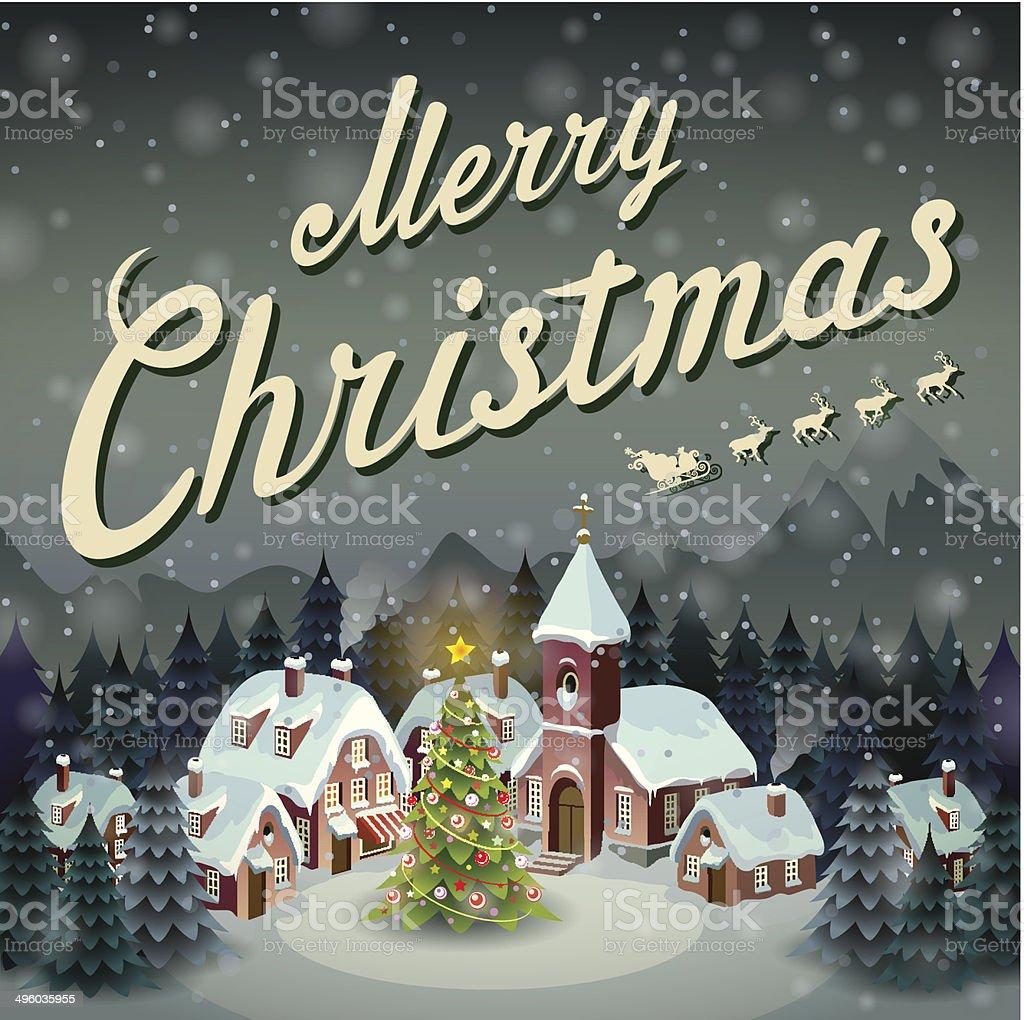Merry Christmas illustration in a retro style vector art illustration