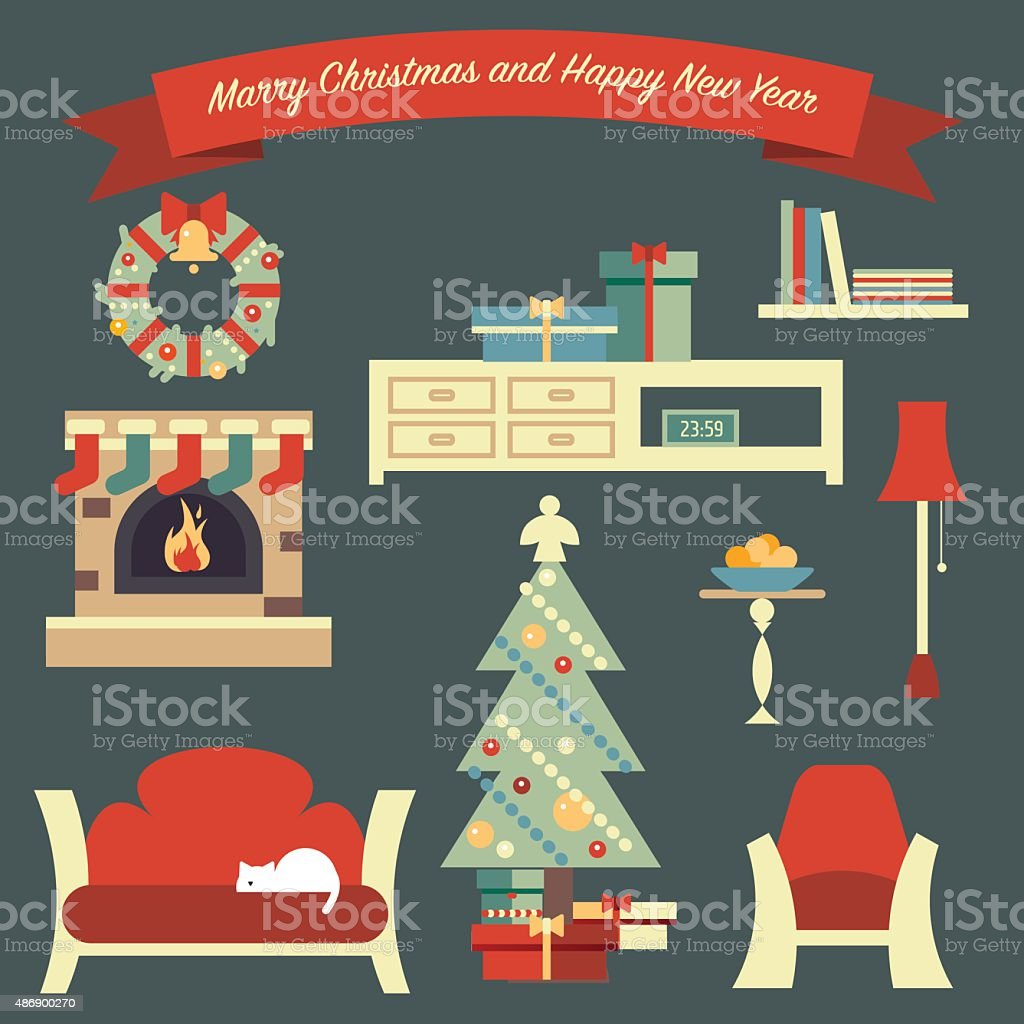 Merry Christmas illustration with shelter living room vector art illustration