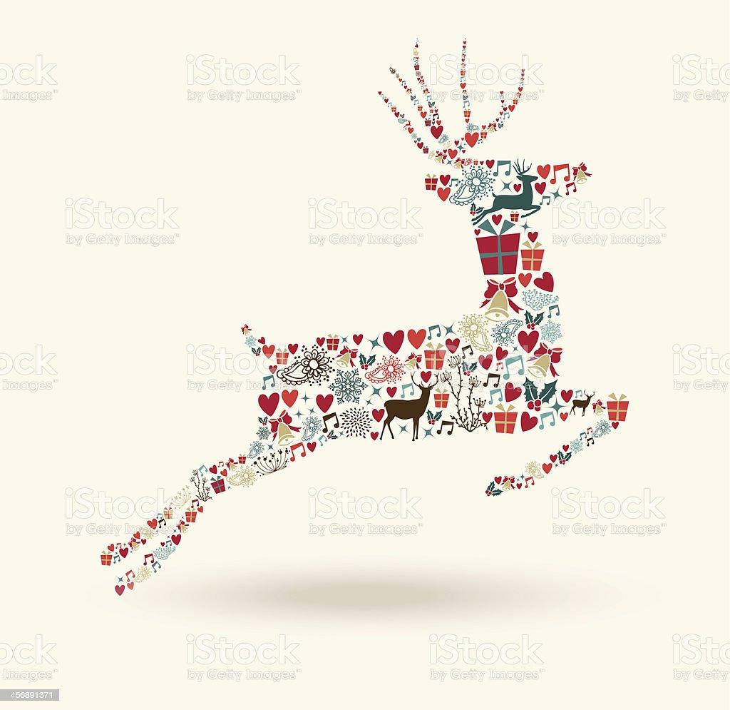 Merry Christmas jump deer illustration royalty-free stock vector art