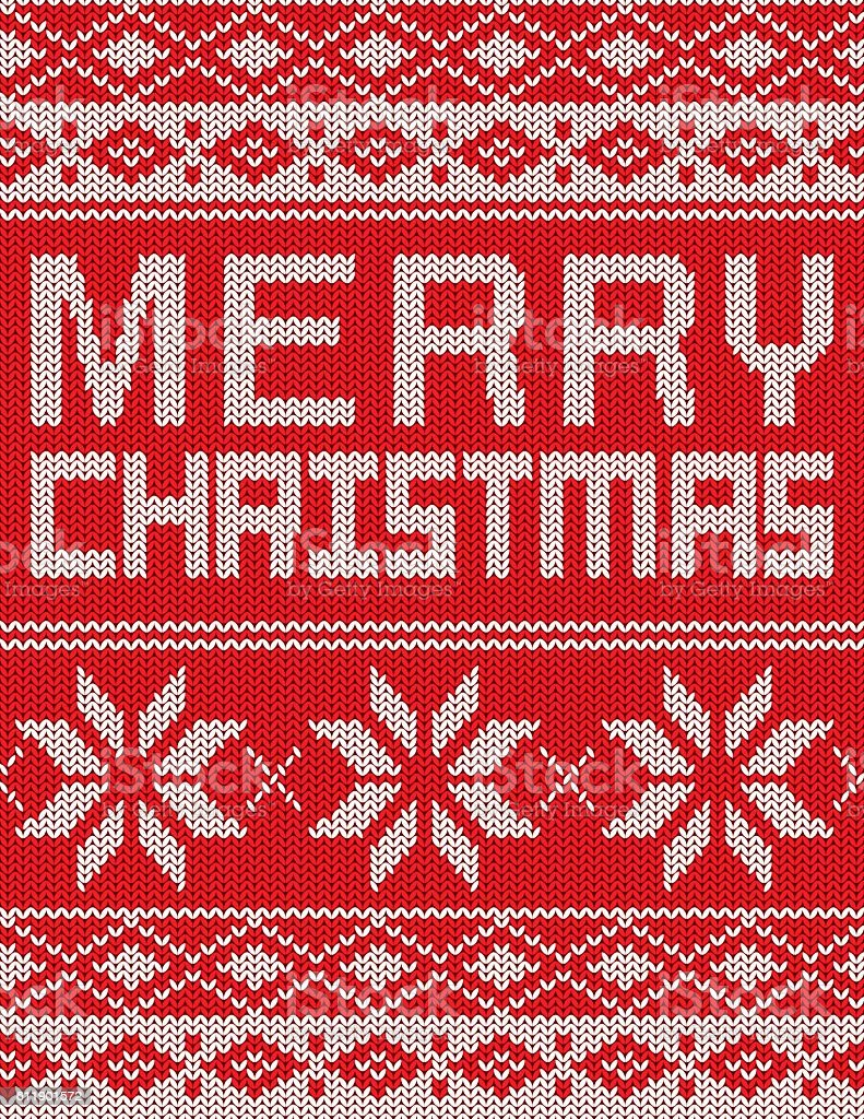 Merry Christmas Knitted Sweater Pattern Poster vector art illustration