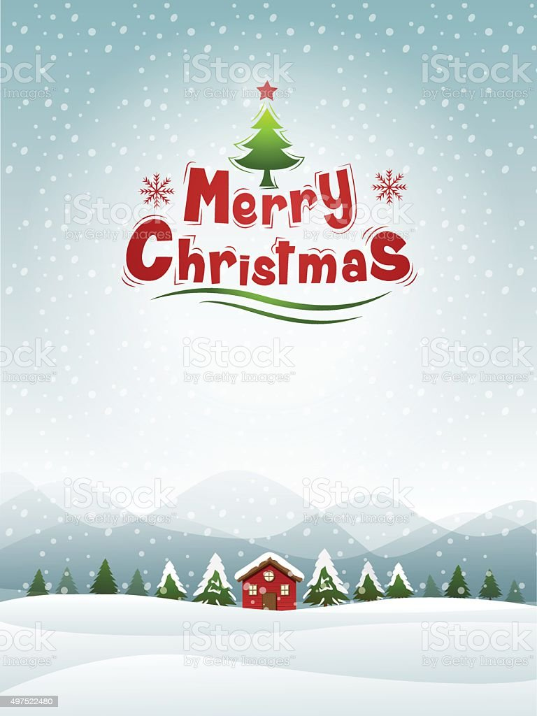 Merry Christmas Landscape vector art illustration