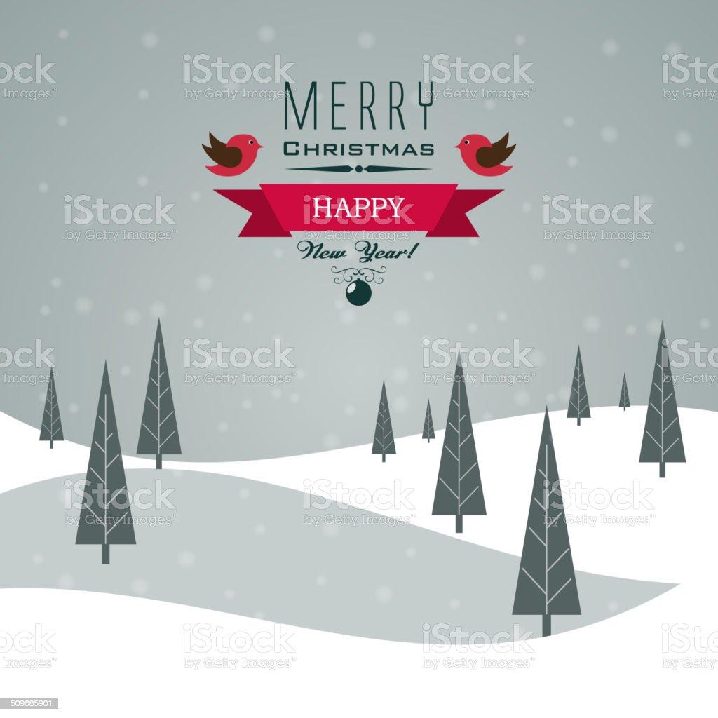 Merry Christmas Landscape vector art illustration