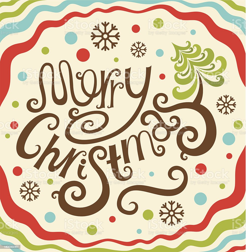Merry Christmas lettering card royalty-free stock vector art