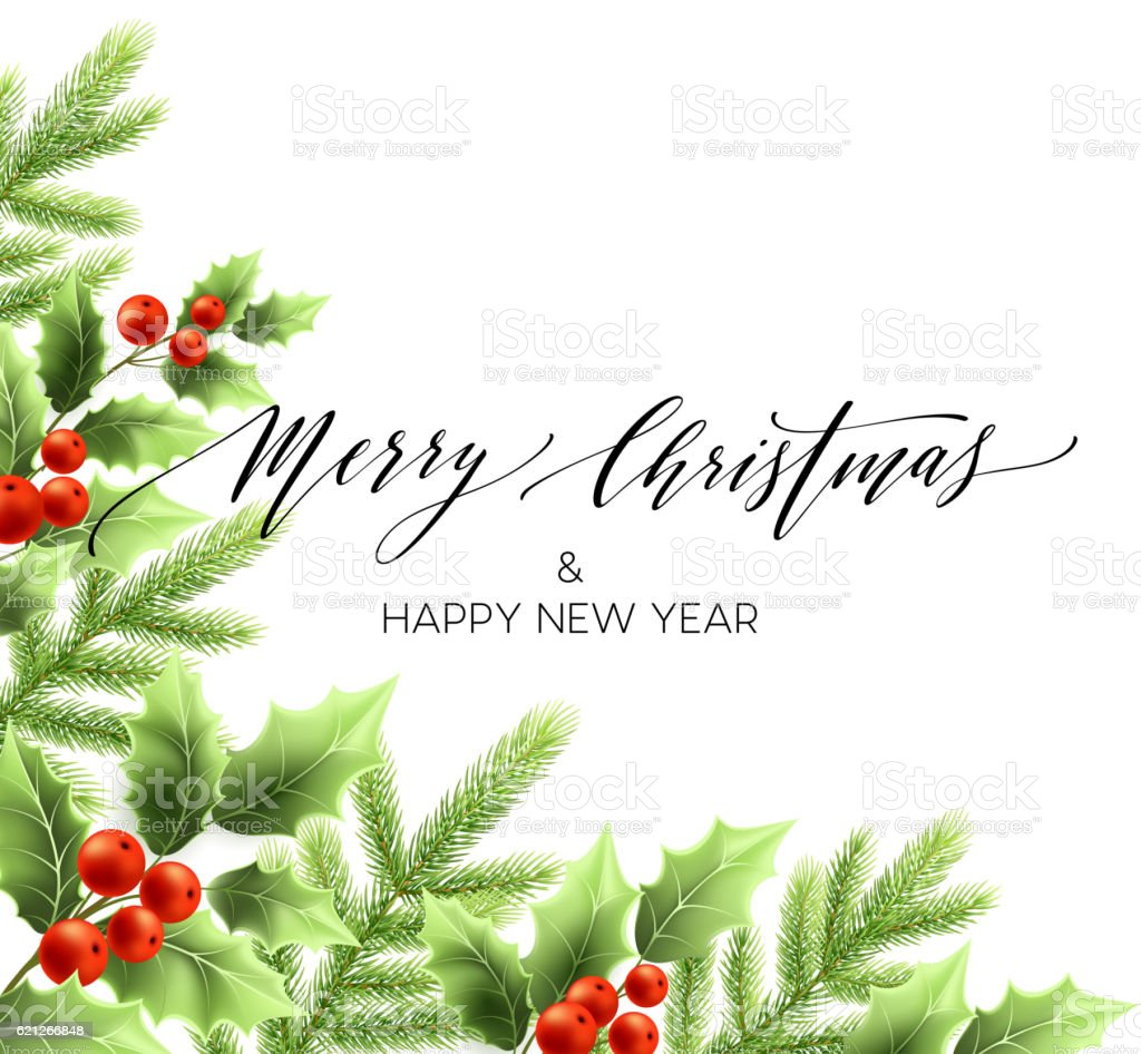 Merry Christmas lettering card with holly. Vector illustration vector art illustration