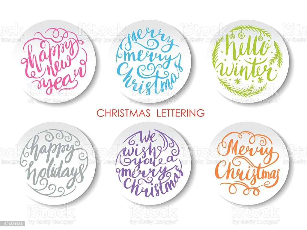 Merry Christmas Lettering Design Set. royalty-free stock vector art