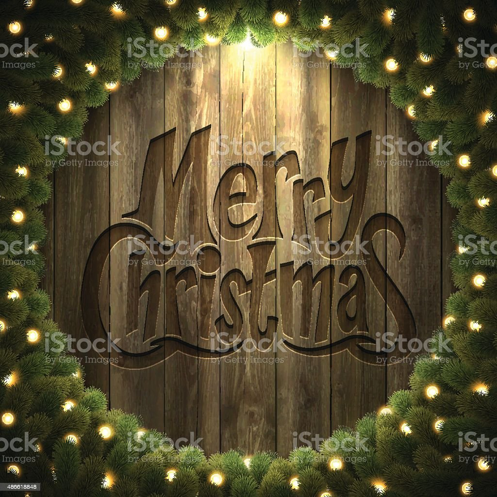 Merry Christmas lettering on Wooden Background with  bright Christmas wreath vector art illustration