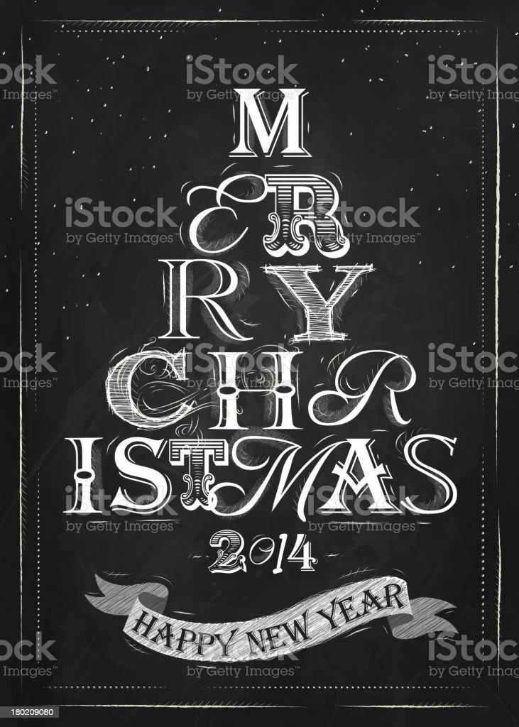 Merry Christmas lettering tree from letters chalk royalty-free stock vector art