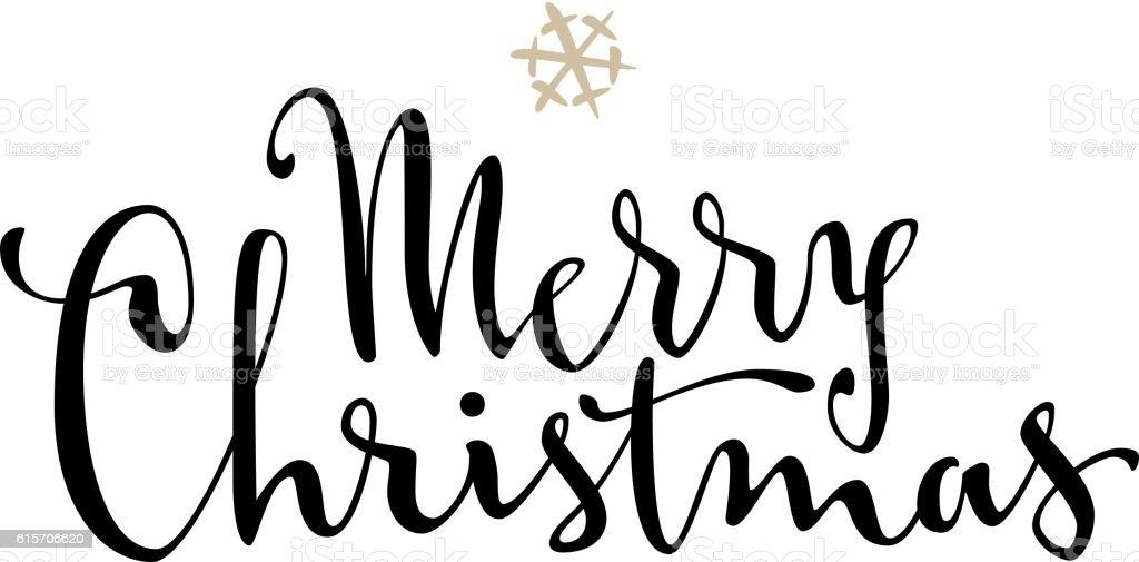 Merry Christmas lettering vector art illustration