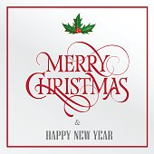 Merry Christmas Lettering with Mistletoe